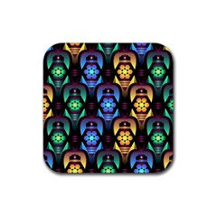 Pattern Background Bright Blue Rubber Square Coaster (4 Pack)