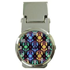 Pattern Background Bright Blue Money Clip Watches