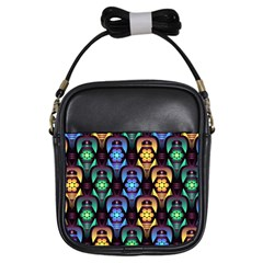 Pattern Background Bright Blue Girls Sling Bags
