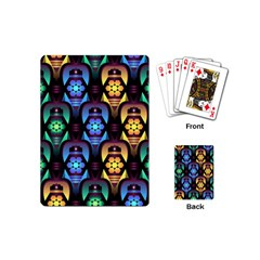 Pattern Background Bright Blue Playing Cards (mini)