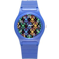 Pattern Background Bright Blue Round Plastic Sport Watch (s)