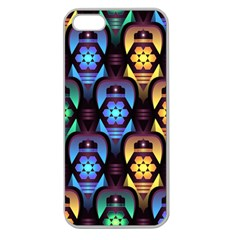 Pattern Background Bright Blue Apple Seamless Iphone 5 Case (clear)