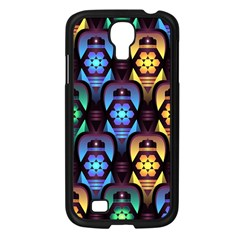 Pattern Background Bright Blue Samsung Galaxy S4 I9500/ I9505 Case (black)