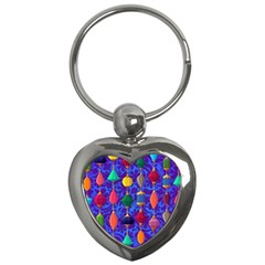 Colorful Background Stones Jewels Key Chains (heart)