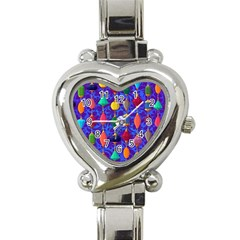Colorful Background Stones Jewels Heart Italian Charm Watch