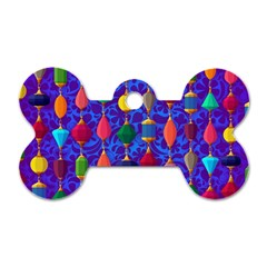Colorful Background Stones Jewels Dog Tag Bone (two Sides)