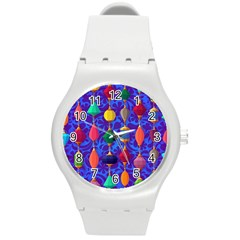 Colorful Background Stones Jewels Round Plastic Sport Watch (m)