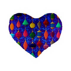 Colorful Background Stones Jewels Standard 16  Premium Heart Shape Cushions