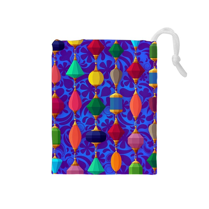 Colorful Background Stones Jewels Drawstring Pouches (Medium)