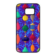 Colorful Background Stones Jewels Samsung Galaxy S7 Edge Black Seamless Case by Nexatart