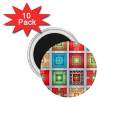Tiles Pattern Background Colorful 1 75  Magnets (10 Pack)