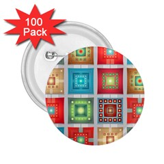 Tiles Pattern Background Colorful 2 25  Buttons (100 Pack)
