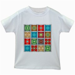 Tiles Pattern Background Colorful Kids White T Shirts