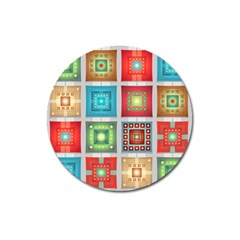Tiles Pattern Background Colorful Magnet 3  (round)