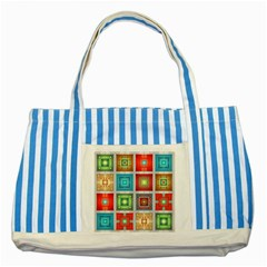 Tiles Pattern Background Colorful Striped Blue Tote Bag