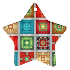 Tiles Pattern Background Colorful Star Ornament (two Sides)