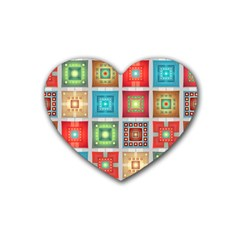 Tiles Pattern Background Colorful Heart Coaster (4 Pack)