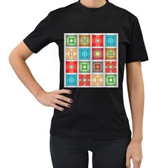 Tiles Pattern Background Colorful Women s T Shirt (black)