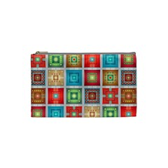 Tiles Pattern Background Colorful Cosmetic Bag (small)