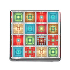 Tiles Pattern Background Colorful Memory Card Reader (square)