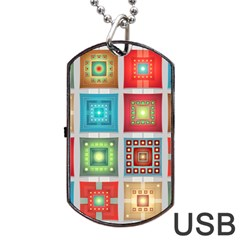 Tiles Pattern Background Colorful Dog Tag Usb Flash (two Sides)