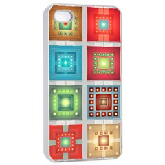Tiles Pattern Background Colorful Apple Iphone 4/4s Seamless Case (white)