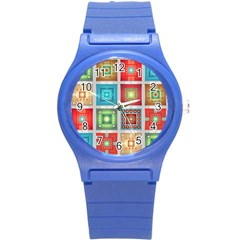Tiles Pattern Background Colorful Round Plastic Sport Watch (s)