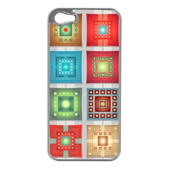 Tiles Pattern Background Colorful Apple Iphone 5 Case (silver)