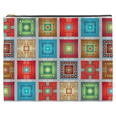 Tiles Pattern Background Colorful Cosmetic Bag (xxxl)