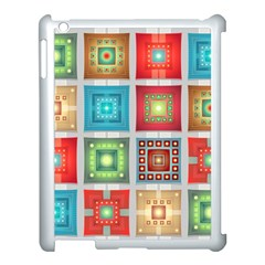 Tiles Pattern Background Colorful Apple Ipad 3/4 Case (white)