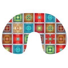 Tiles Pattern Background Colorful Travel Neck Pillows