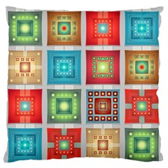 Tiles Pattern Background Colorful Large Flano Cushion Case (one Side)