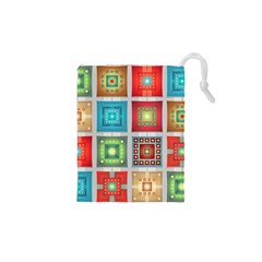 Tiles Pattern Background Colorful Drawstring Pouches (xs)