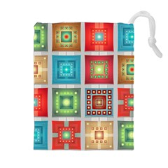 Tiles Pattern Background Colorful Drawstring Pouches (extra Large)