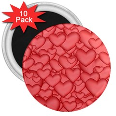 Background Hearts Love 3  Magnets (10 Pack)