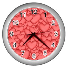Background Hearts Love Wall Clocks (silver)