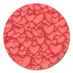 Background Hearts Love Magnet 5  (round)