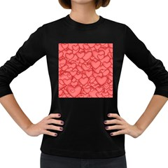 Background Hearts Love Women s Long Sleeve Dark T Shirts