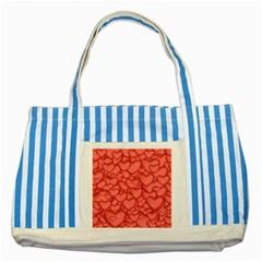 Background Hearts Love Striped Blue Tote Bag