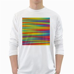 Colorful Background White Long Sleeve T Shirts