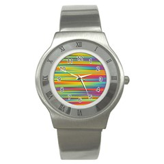 Colorful Background Stainless Steel Watch