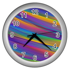 Colorful Background Wall Clocks (silver)