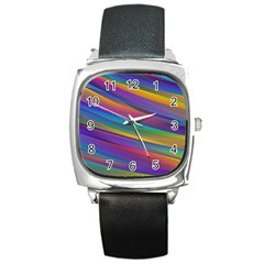 Colorful Background Square Metal Watch