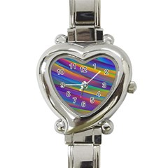 Colorful Background Heart Italian Charm Watch