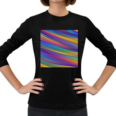 Colorful Background Women s Long Sleeve Dark T Shirts