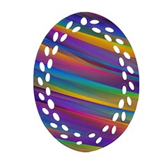 Colorful Background Oval Filigree Ornament (two Sides)