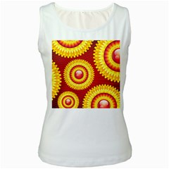 Floral Abstract Background Texture Women s White Tank Top