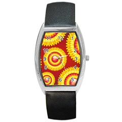 Floral Abstract Background Texture Barrel Style Metal Watch