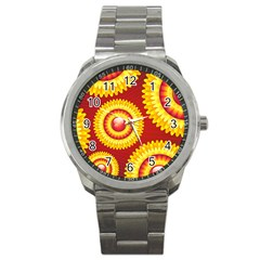 Floral Abstract Background Texture Sport Metal Watch by Nexatart