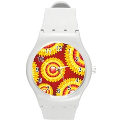 Floral Abstract Background Texture Round Plastic Sport Watch (m)